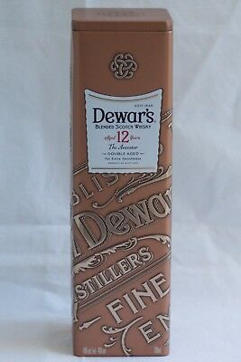 Dewar's Blended Scotch Whiskey 12 Years Old Empty Tin Metal Box No Alcohol