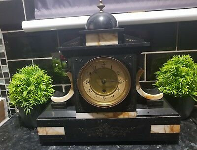 1890 French Large Slate Mantel clock , Beautiful looking item , see photos