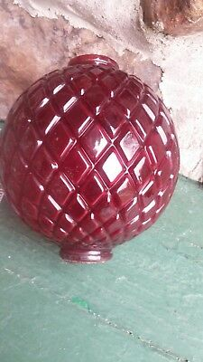 Old ox blood ruby red diamond quilted glass lightning rod ball / globe. Kretzer?
