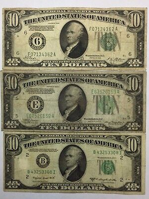 *LOT(3) 1928 1934 1950  $10 GREEN SEAL Federal Reserve Notes(FRN)