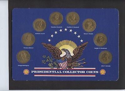 Sunoco Presidential Coins From 1960's 8 Different On Card Washington Kennedy