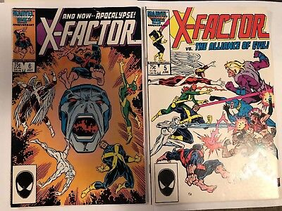 X-FACTOR #5 & 6 (Apocalypse 1st Cameo & full appearance) Marvel Comics 1986