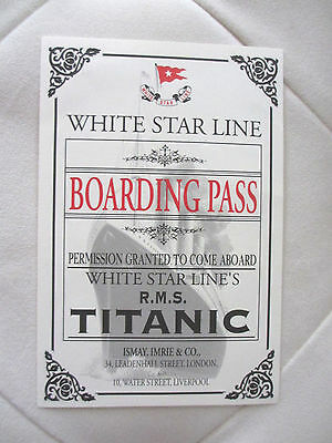TITANIC 3rd Class BOARDING PASS From Titanic Research Recovery Exhibit REPLICA