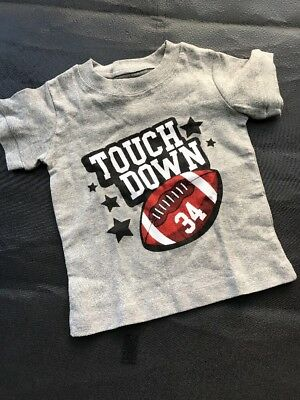 Touch Down   Boys Toddler Short Sleeve T-Shirt   Size 24 Mos   Gray  100% Cotton
