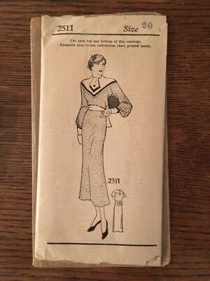 Vintage 1933 NEW YORK PATTERN CO. LADIES AND MISSES' ONE-PIECE DRESS #2511