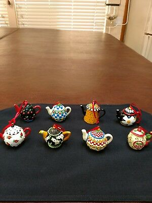 Lot of 8 Mary Engelbreit Christmas Ornaments Teapots cherries flowers