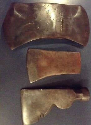 3 Vintage Axe Heads True Temper Kelly Perfect Double Bit & 2 With No Names