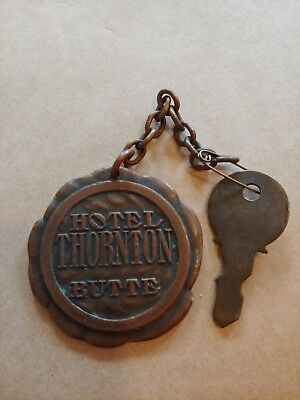 Vintage Hotel Thornton Key and Fob  BUTTE MT. Brass Keychain Room 207