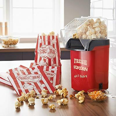Hot Air Popcorn Maker Popper Machine with 4 Bags 1200W Kids Party Fat Free Snack