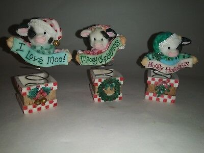 "Enesco Mary's Moo Moos Lot of 3 ""MOO IN THE BOX"" 1996 185566"