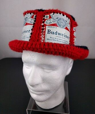 1a3b0bc7db3 VTG Budweiser Beer Aluminum Can Hat Crochet Cap Homemade Knitted Bucket  Funny