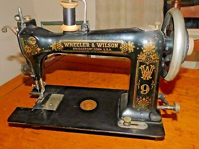 ANTIQUE WHEELER WILSON 9 SEWING MACHINE FOR PARTS OR RESTORE works! (J75L)