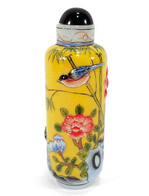 Colorful Chinese Enameled Glass Snuff Bottle Hand Painted Flowers Birds China