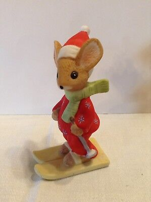 "Vintage Christmas Mouse With Skis Lucy Rigg/Enesco 3 1/4"" Tall Firgurine"