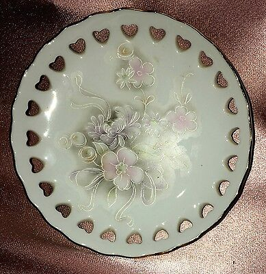 Estate Collectable ~ Small Gold Rim Pierced Floral Pin Dish Plate Vintage Japan