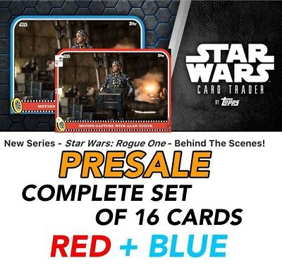 ROGUE ONE BEHIND THE SCENES PRESALE BLUE/RED SET OF 16 Topps Star Wars Digital
