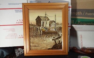 Vintage original framed 8 x 10 oil painting signed J. Russel