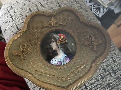 Antique French Jewel Box Brass Hand Painted Medallion Victorian Vanity