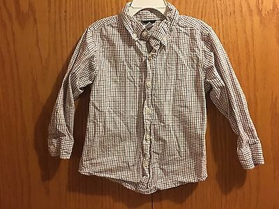 Boy's Gymboree Red Gray Plaid Button Down Long Sleeve Shirt Size 3-4