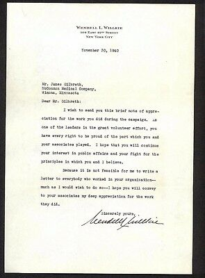 1940 Wendell L Willkie  -  Republican Presidential Candidate - signs letter -