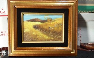 Vintage original framed 5 x 7 oil painting,signed country landscape