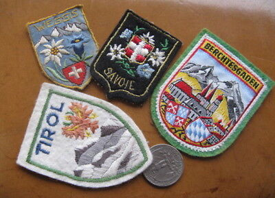 LOT OF FOUR VINTAGE TRAVEL SKI MOUNTAINEERING PATCHES BERCHTESGADEN TYROL 1950s