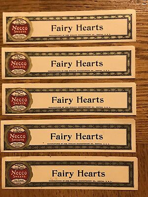 New England Confectionery Company NECCO Vintage Fairy Hearts Wrappers - UNUSED