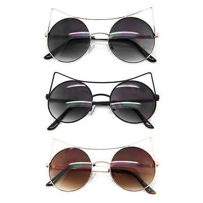Round Cat Eye Women Fashion Sunglasses Gradient Lens Metal Frame Fancy Shades