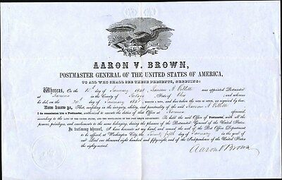 Appointment By Postmaster General Of Usa, 1858, Signed By Aaron V. Brown, Pmusa