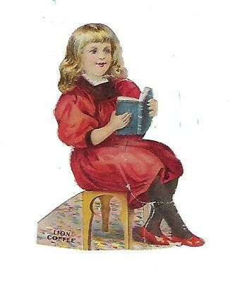 Vintage 1880's Lion Coffee Paper Doll-Girl from The Library Set # 5