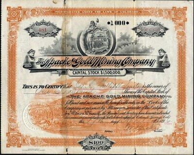 Cripple Creek, Co.: Apache Gold Imining Co., 1896, Uncancelled, About Good Cond.