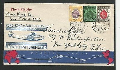 1937 Hong Kong Sc #141-142-144 on Cacheted FAM-14 First Flight Cover to SFO