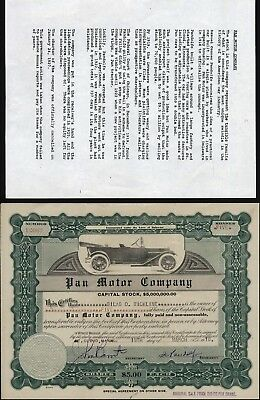 Pan Motor Company, Saint Cloud, Mn. 1913, Signed By S.c. Pandolfo, With History