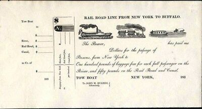 Rail Road Line From New York To Buffalo, 183-, Canal Tow Boat Ticket, Crisp, New