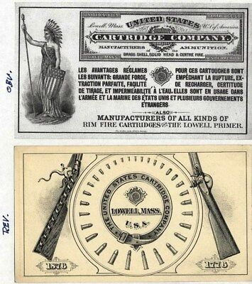 United States Cartridge Co, 1776, Card, Lowell, Mass. Manufacturer Ammunition