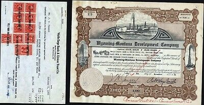 Wyomi9Ng - Montana Development Co., 1931 Cancelled With 3 Related Papers