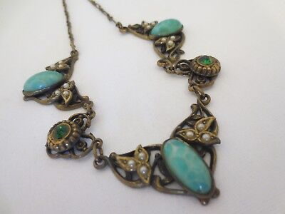 Vintage NECKLACE Antique Art Deco Nouveau Czech PEKING GLASS Rhinestone Brass