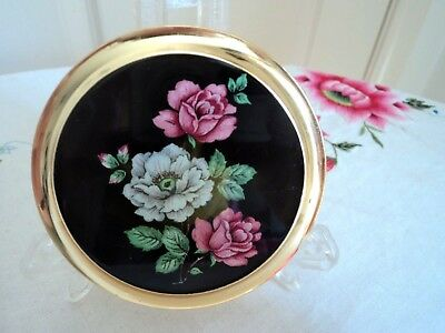 Vintage powder compact Made in England - black with pink and white floral design
