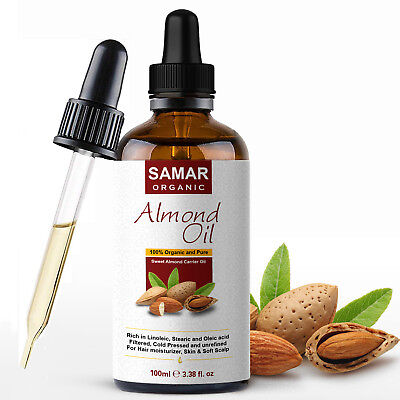Sweet Almond Oil - 100% Pure and Certified Organic Oil Natural Makeup Remover