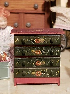 Miniature Artisan Signed Joan Wheatley Hindeloopen Half Scale Or Dolls Chest