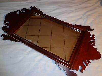 """VINTAGE ANTIQUE STYLE  MAHOGANY SCROLLWORK CHIPPENDALE WALL MIRROR-36""""x18""""  !"""