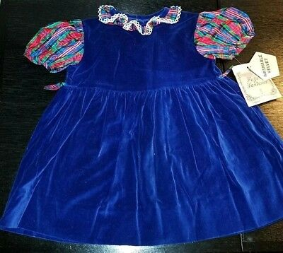 Vintage Blue Velvet Dress by Faye's Fantasies~NEW WITH TAGS~MISSING SASH SIZE 4T