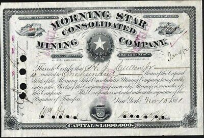Morning Star Consolidated Mining Co Of Colorado, 1881, Cancelled Stock Cft.