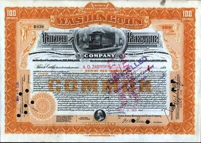 Washington Railway And Electric Co, 1905, Cancelled Stock Certificate