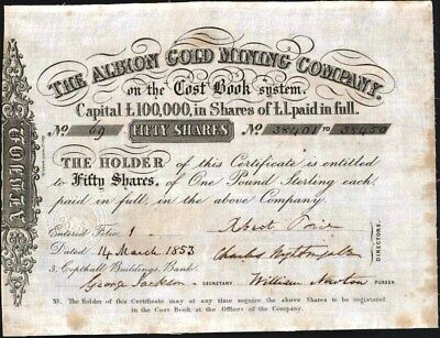 Albion Gold Mining Co, 1853, Uncancelled Stock Certificate