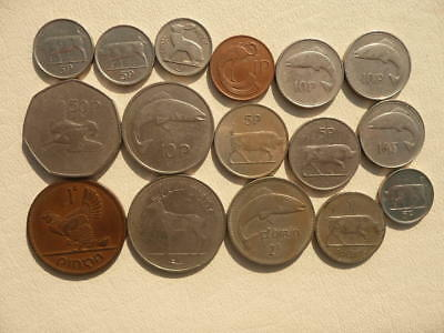 Lot of 16 Irish Coins of Ireland - With Animals and Harps - No Reserve!
