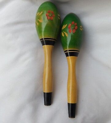 Vintage Green Wood Maracas Music Shakers Percussion Carved Flowers Set 2 Pair 6""