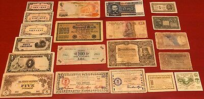 20 World Currency Bank notes Paper Money Lot WWII Collection Japan Germany Laos+