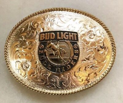 Bud Light Professional Bull Riders Belt Buckle Silver Plate Pbr