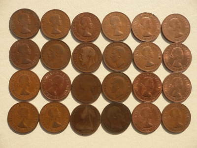 Lot of 24 Large One Penny Coins of England - Great Britain - mix of reigns